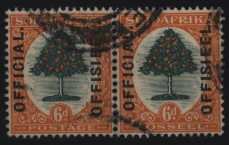 Südafrika Dienst 6/7 waagerechtes Paar zweisprachig 6 P Orangenbaum gestempelt