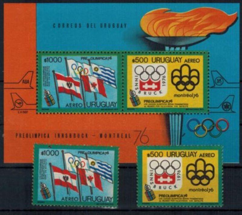 Uruguay Olympia Sport Spiele Innsbruck u. Montreal, Satz- u. Blockausgaben