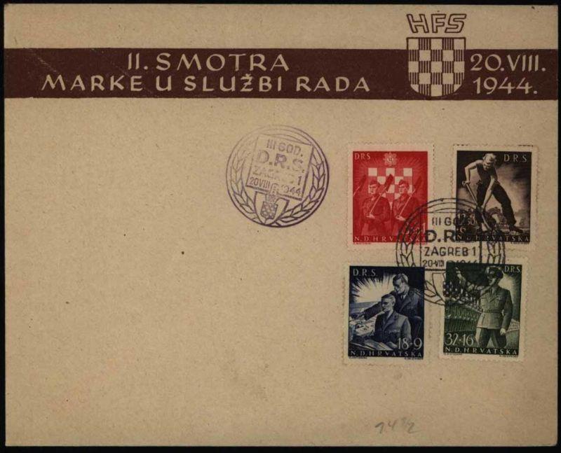 Kroatien Arbeitsdienst 162-165 B Zähnung B auf FDC