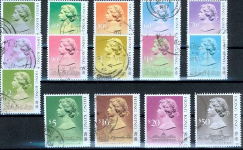 Hongkong Freimarken: Königin Elizabeth II. 1987 sauber gestempelt