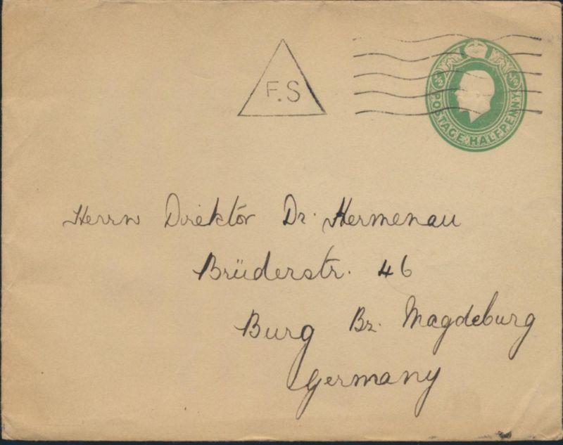 Großbritannien Privatganzsache 1/2c King Georg Zensur Stempel F.S n. Burg