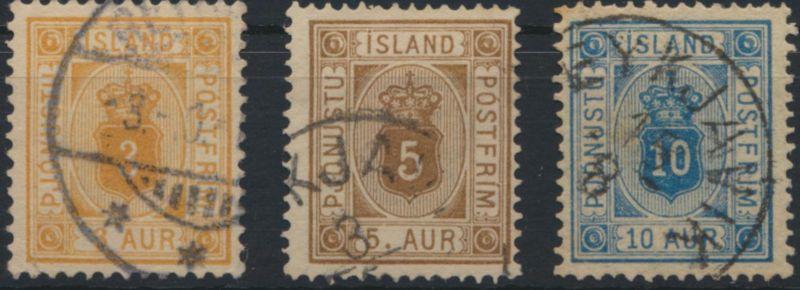 Island Dienst D 3-5 A Ziffer und Krone Ausgabe 1876 gstempelt Kat 78,00