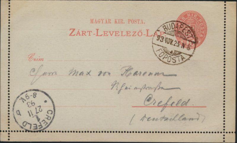 Ungarn Ganzsache Kartenbrief K4II postal stationary Budapest Foposta n. Krefeld