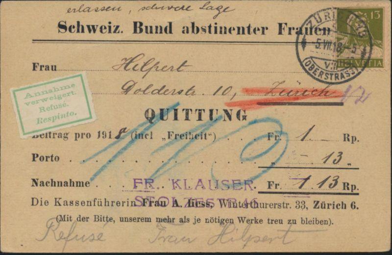 Postsache Schweiz Nachnahme EF 139x Bund abstineneter Frauen Annahme verweigert