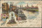 Ansichtskarte Duisburg Litho Schiffe Schiffahrt Denkmal Hafen 1904 nach München