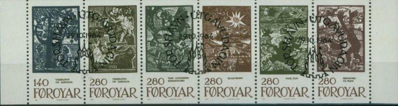 Färoer Heftchenblatt 2 aus Markenheftchen Märchenillustration 1984 gestempelt