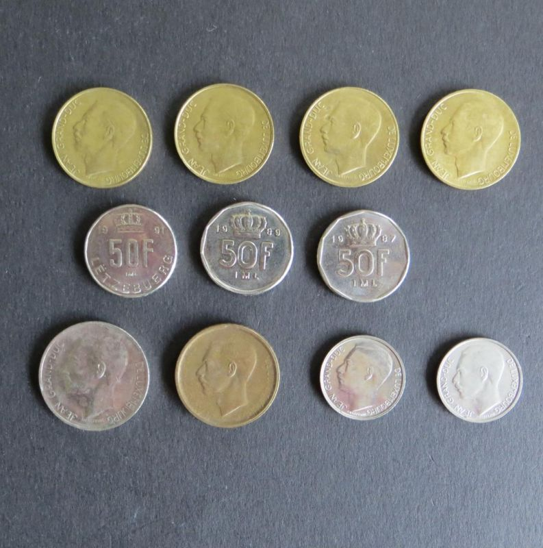 11 Münzen Luxemburg ex Schön 39-55 vz-ss