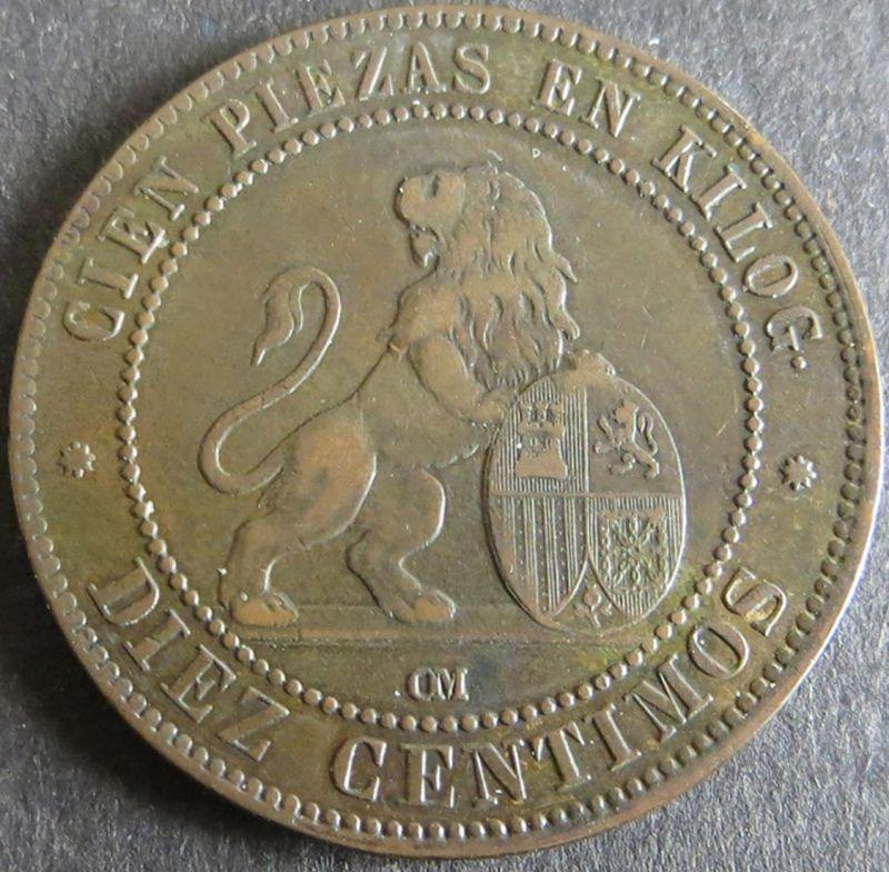 Münze Spanien Provisorische Regierung 10 Centimos 1870 ss Schön: 143