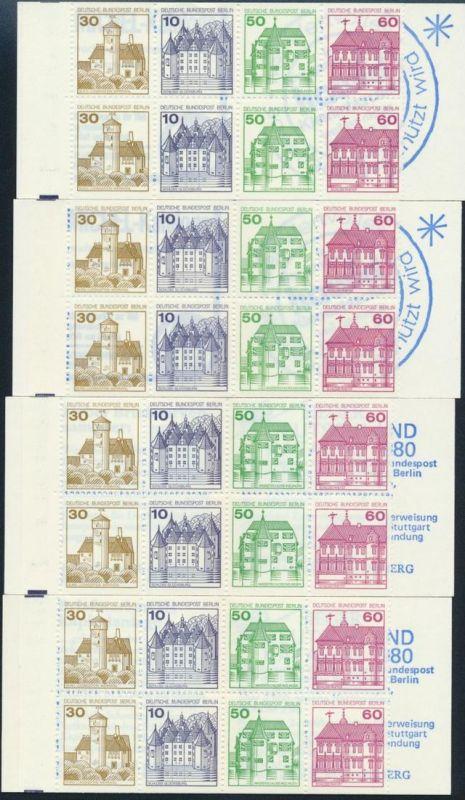 Berlin Markenheftchen MH 12 a, b c I, cb Burgen und Schlösser 1980 postfrisch