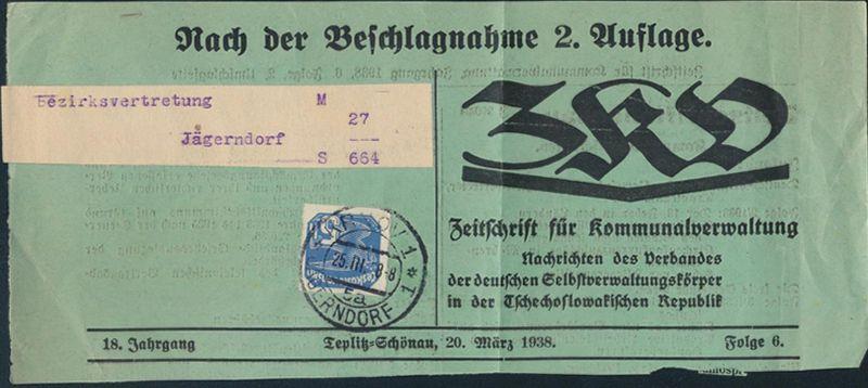 Böhmen & Mähren 43 Zeitungsausschnitt ZKD Nach der Beschlagnahmung Jägerndorf