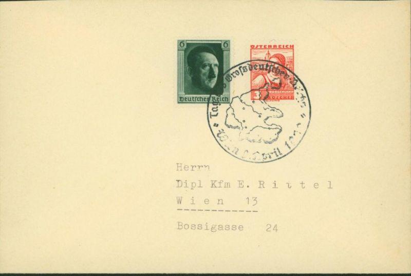 Deutsches Reich Brief mit seltene 2-Länder MIF Wien 1938