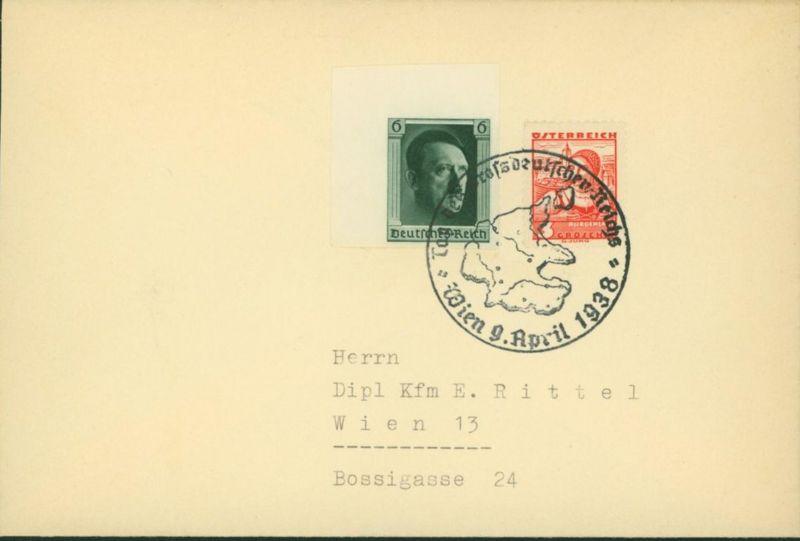 Deutsches Reich Brief 2 Länder-MIF Wien Österreich 1938 mit u.a. Blockmarke