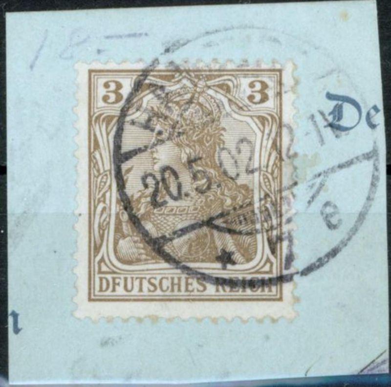 Deutsches Reich 69 PF I 3 Pf Germania 1902 mit Plattenfehler Briefstück