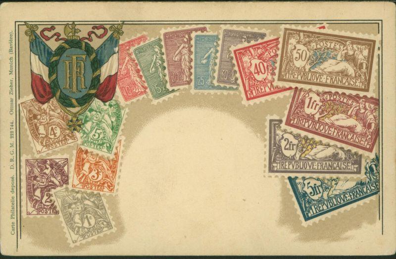 Ansichtskarte Briefmarken Philatelie Wappen Frankreich Prägekarte