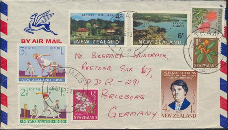 Neusseeland Brief Luftpost  MIF 456-457+464+504-508 Thames nach Perleberg Sport