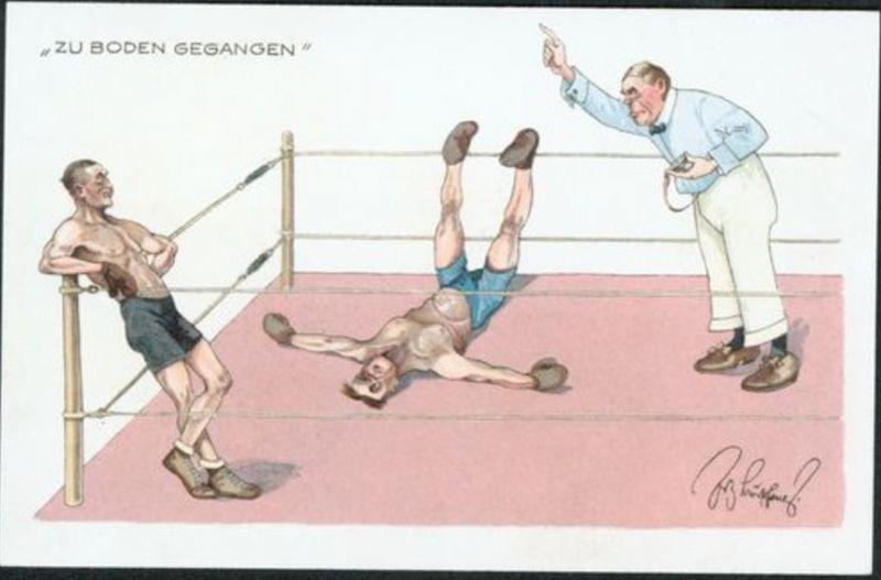Ansichtskarte Künstler Sport Boxen Zu Boden gegangen selten
