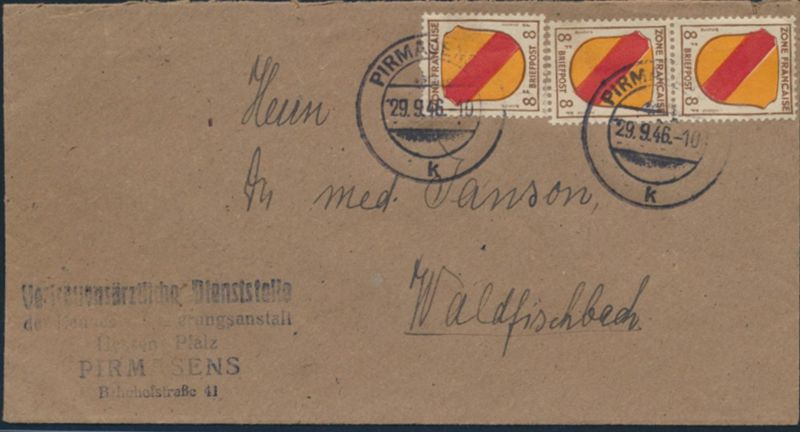 Franz. Zone Allg. Ausgabe Brief MEF 4 Paar +EM Pirmasens Waldfischbach 29.9.1946