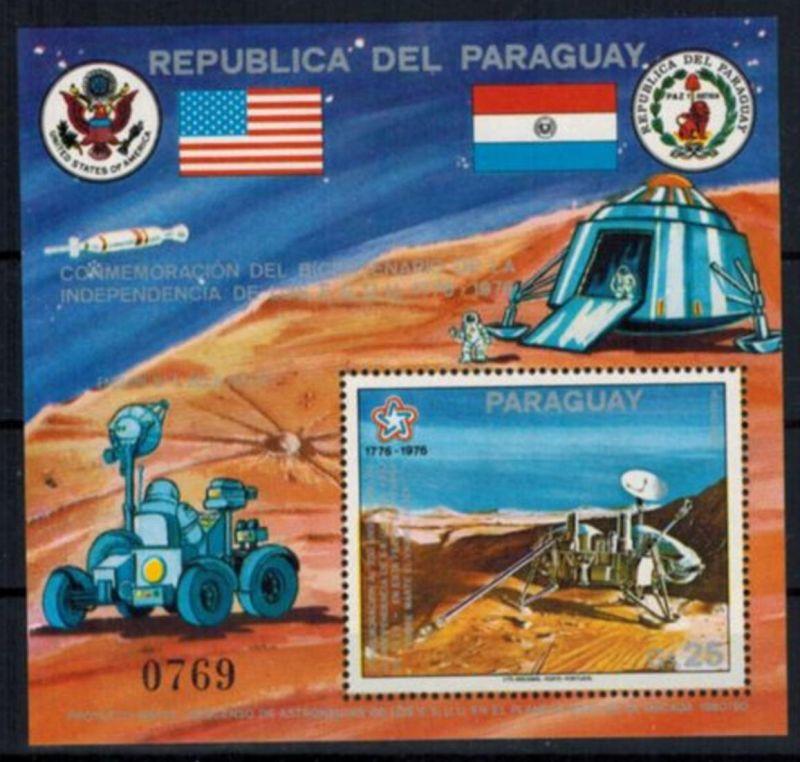 Paraguay Block 282 Weltraum Viking-Landefähre 200 Jahre USA postfrisch Kat 22,00