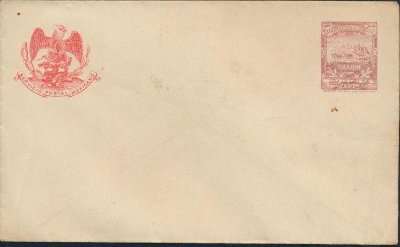 Mexiko Ganzsache Umschlag U 46 10c rotlila mit Adler ungebraucht