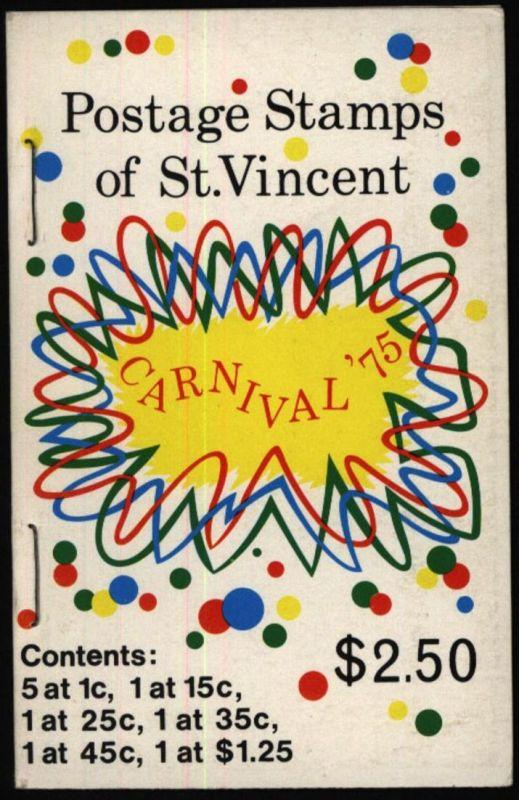 St. Vincent & Grenadinen 377-382 im Markenheftchen Karneval 1975 postfrisch **
