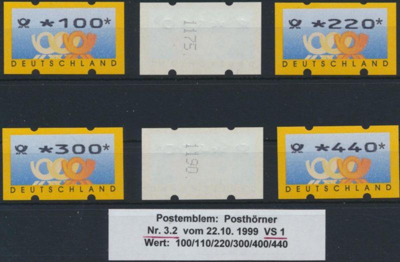 Bund ATM 3.2 VS 1 mit Zählnummer Luxus postfrisch Postemblem Kat.-Wert 150,00