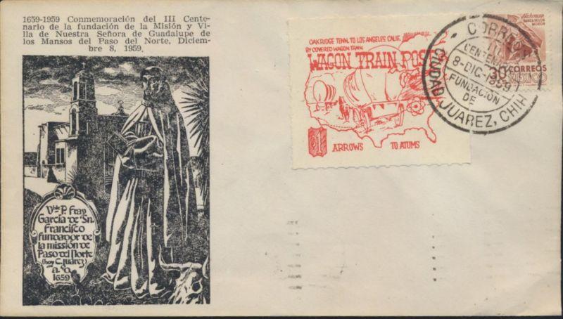 Mexiko Brief EF 1013A I x + Vignette Juarez nach El Paso Religion Kirche