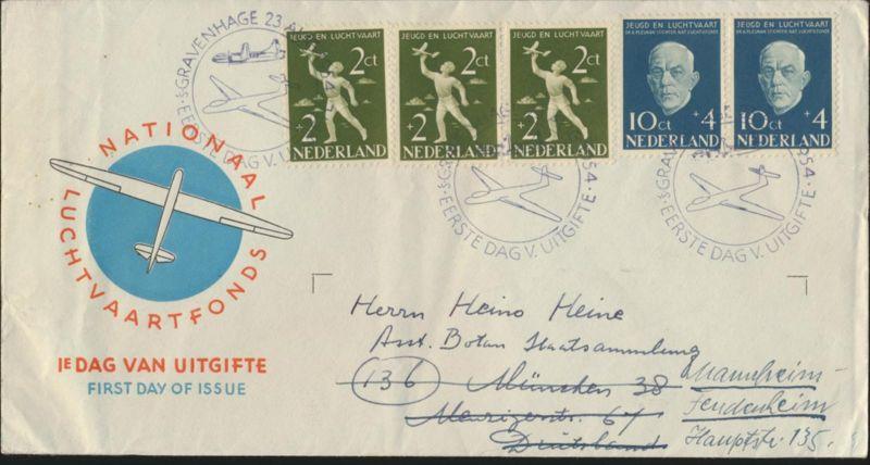Niederlande Flugpost Brief 644-5 Jugend Luftfahrt 3er + Paar FDC echt gelaufen