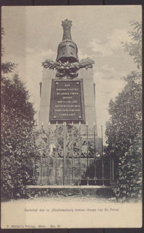 Militaria Ansichtskarte Denkmal 12. Armee Korps Sachsen St Privat Verlag Müller