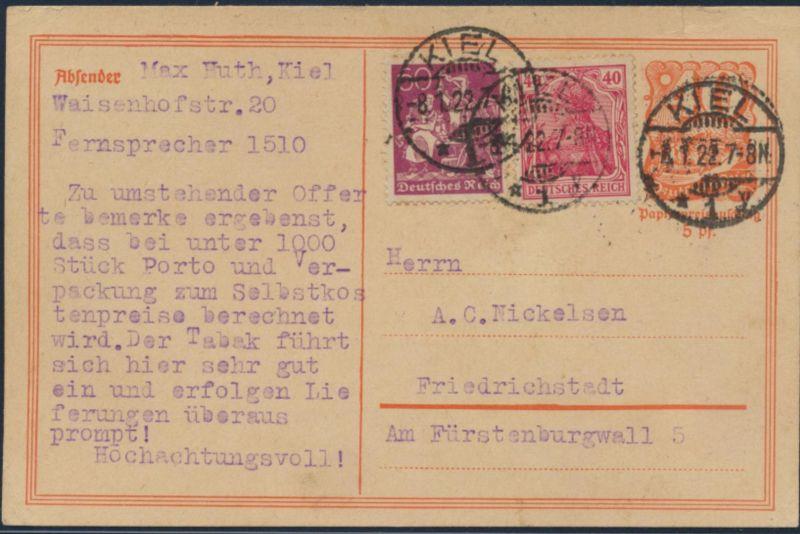 Deutsches Reich Ganzsache P 141 ZUF 145 I +165 Kiel n. Friedrichstadt 8.1.1922