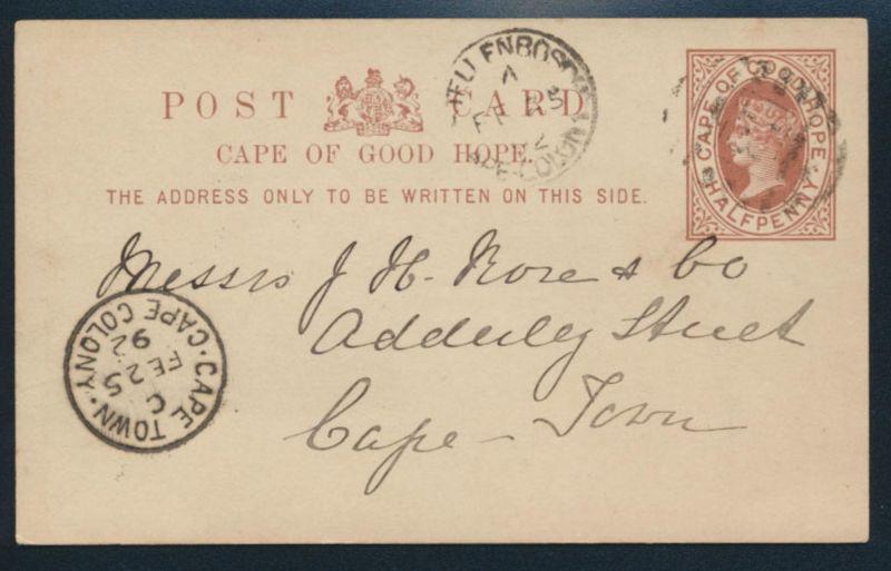 Afrika Kap der guten Hoffnung Ganzsache P 3 nach Kapstadt 1892