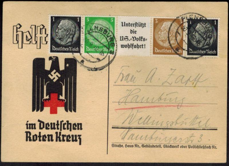 Deutsches Reich Zusammendruck auf Karte des Roten Kreuzes Flensburg 1940