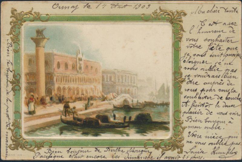 Ansichtskarte Prägekarte Künstler Ormoy nach Voisey 1903 Frankreich Venedig 0