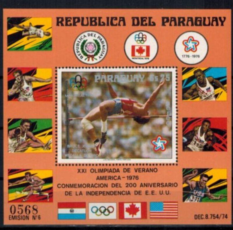 Paraguay Block 288 Olympia Sport Montreal Bruce Jenner postfrisch Kat 30,00 1976