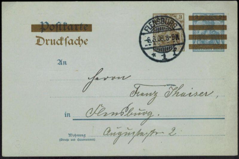 Deutsches Reich Drucksachen Ganzsache Zudruck St. Johannis-Totengilde Flensburg