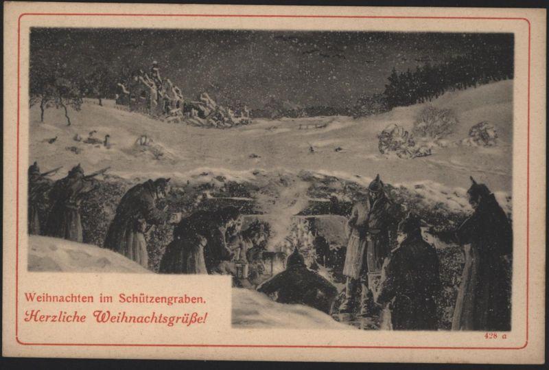 Ansichtskarte Weihnachten I. WK im Schützengraben