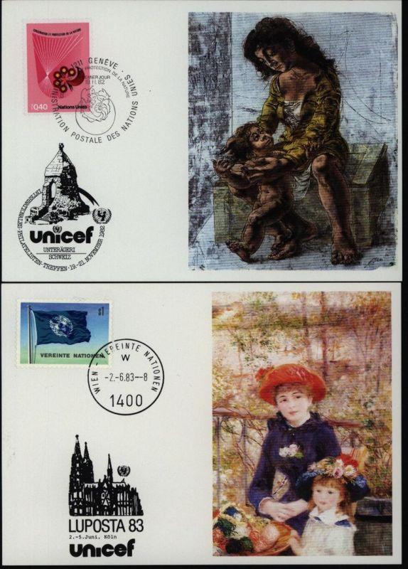 UNO UNICEF Kunstkarten Sammlung 1981-1984 gesamt 25 Stück