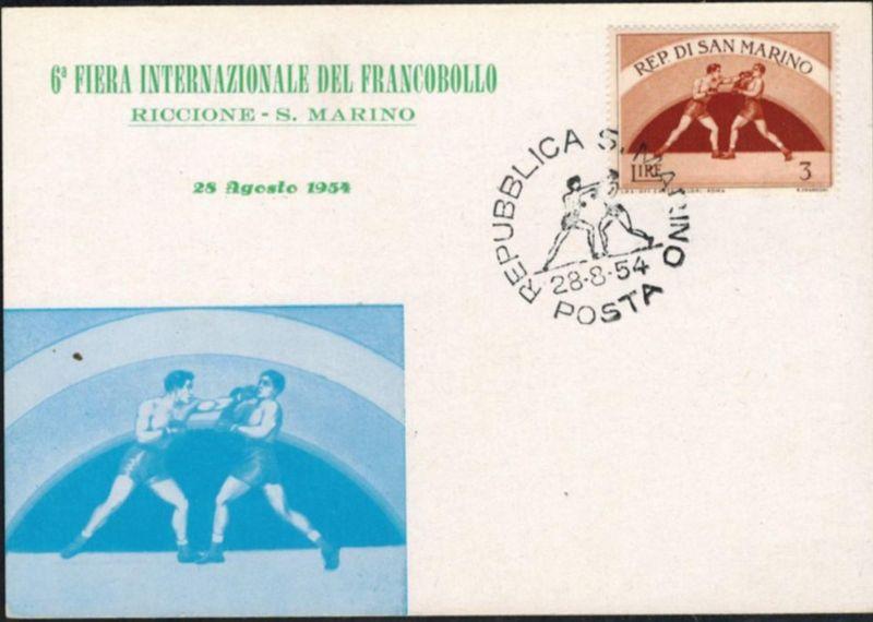 San Marino 1954 Sport sehr schöne Sonderkarte Boxen
