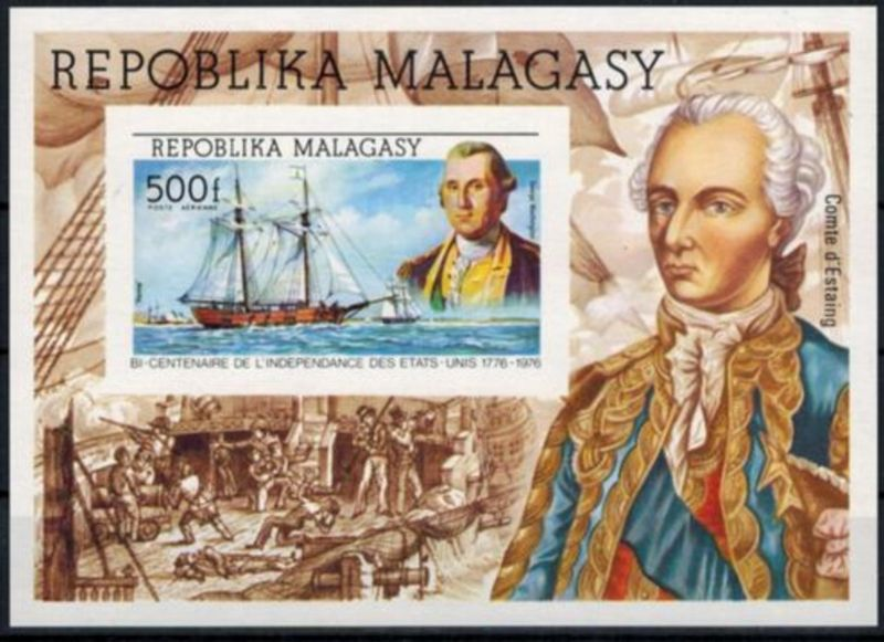 Madagaskar 200 J. USA Washington Segelschiff Block ungezähnt M. nicht gelistet