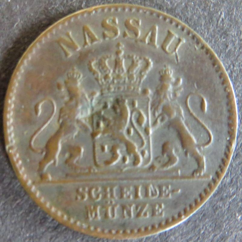 Münze Nassau 1860 - 1 Pfennig Scheidemünze Wappen Löwen Kupfer ss