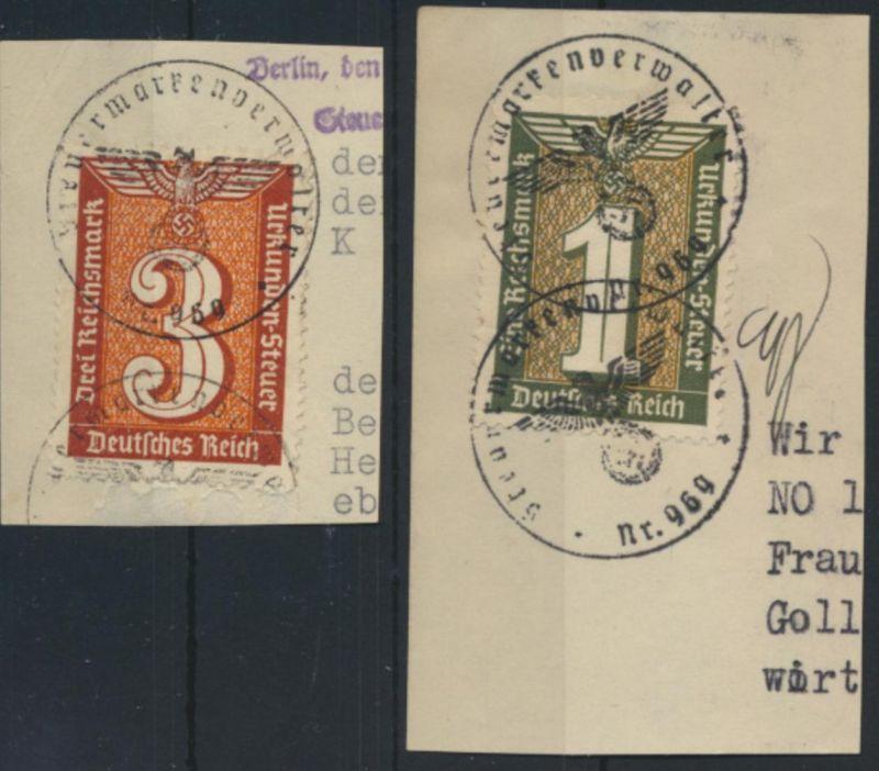 Stempelmarken 1+3 Mark Urkundensteuer auf Briefstück