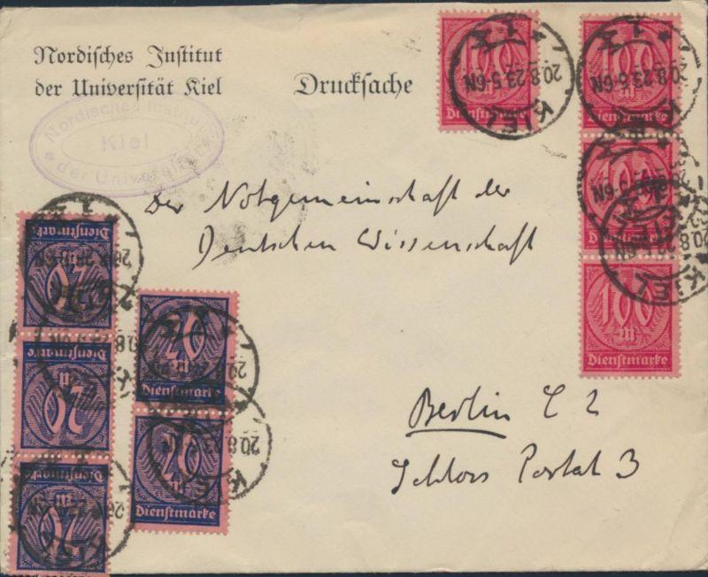 Deutsches Reich Brief Drucksache MIF Dienst 72+74 Kiel nach Berlin 20.8.1923