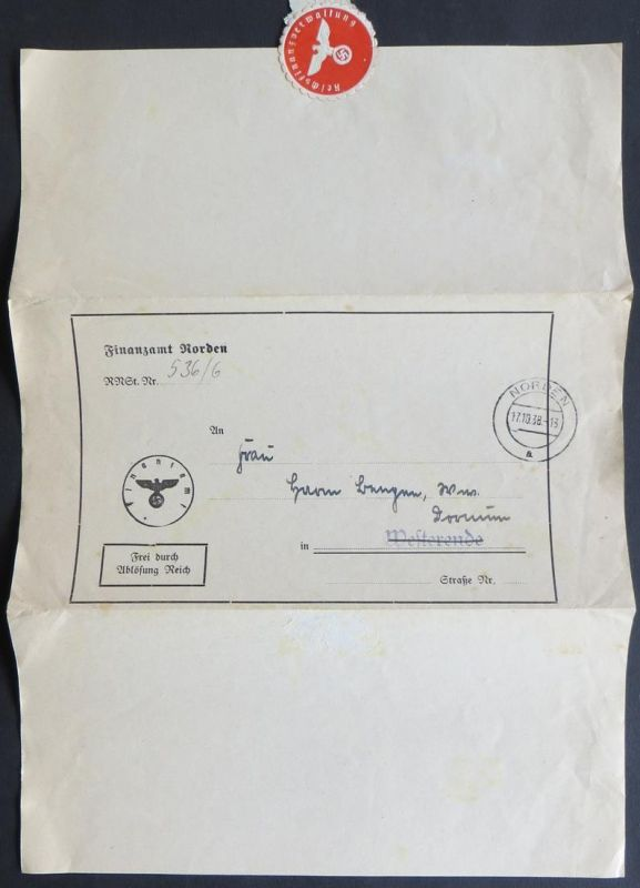 Dt. Reich Dienstsache Finanzamt Norden Reichsnährstand Westerende Siegelmarke
