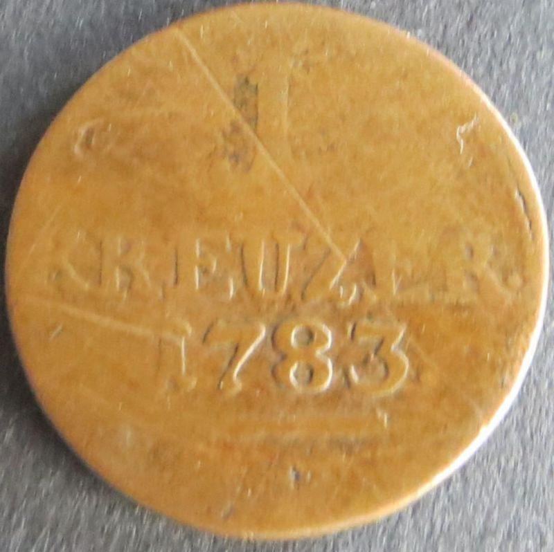Münze Hessen-Kassel 1 Kreuzer 1783 schön