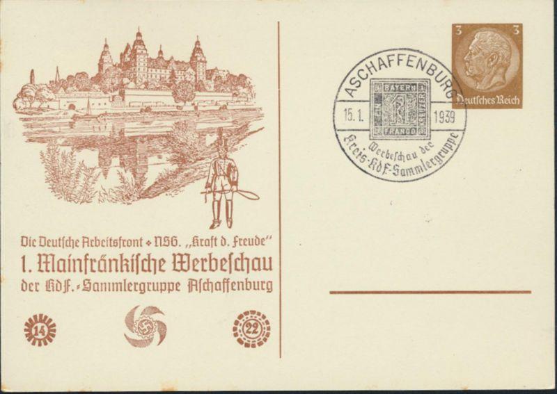 Deutsches Reich Privatganzsache  PP 122 D 2 04 Aschaffenburg Postillion KdF