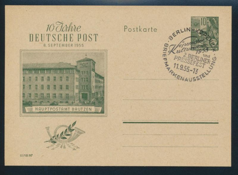 DDR Brief Ganzsache P 66 inter. SST Berlin Köpenick Kultur Pressefest Philatelie