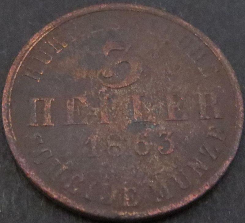 Münze Hessen-Kassel 3 Heller 1863 sehr schön - vzgl  VF-XF Arnold: 67