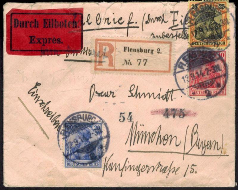 Deutsches Reich Brief Eilboten Einschreiben Germania von Flensburg nach München