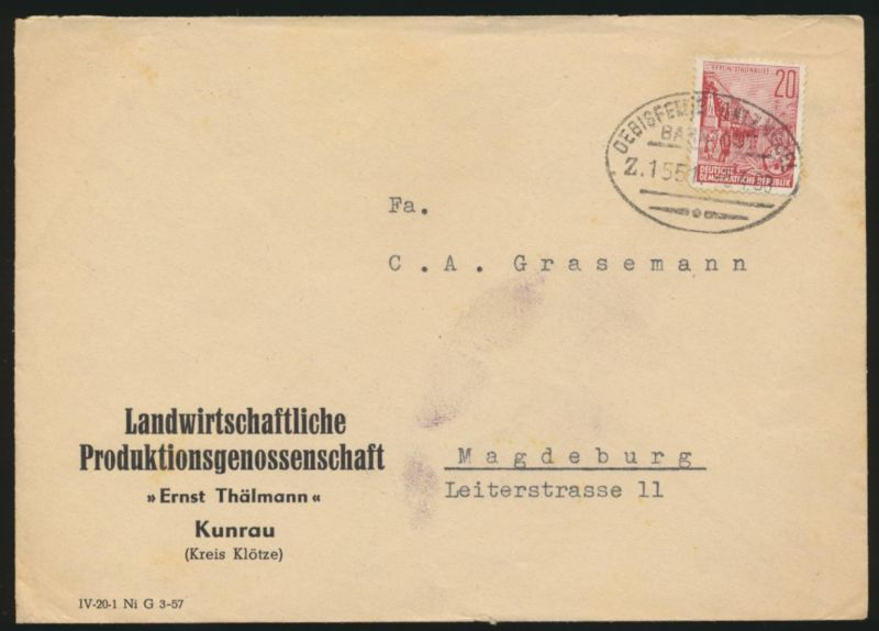 DDR Brief Bahnpost Oebisfelde Salzwedel Zug 1551 5.4.1960 nach Magedburg