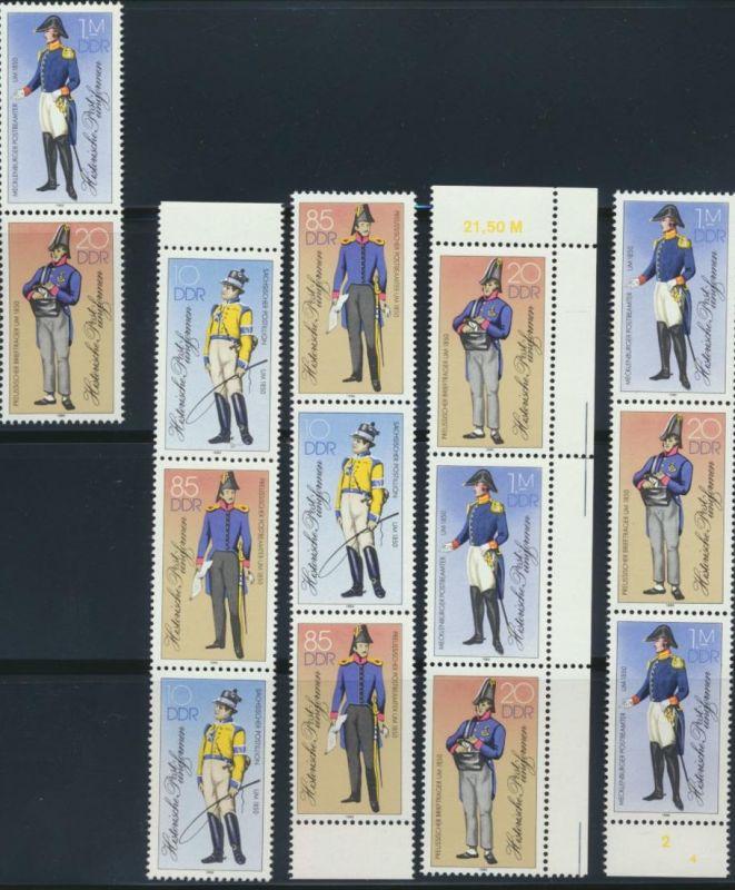 DDR Zusammendrucke 2997-3000 postfrisch Postuniform komplett Kat.-Wert 54,00