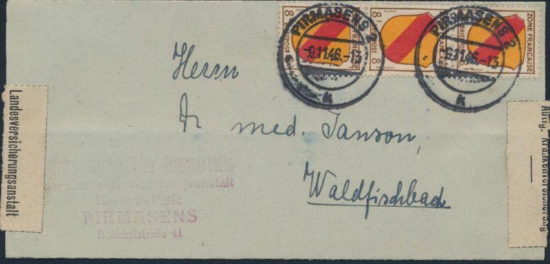 Franz. Zone Allg. Ausgabe Brief MEF 4 senkr 3er Streifen Pirmasens Waldfischbach 0
